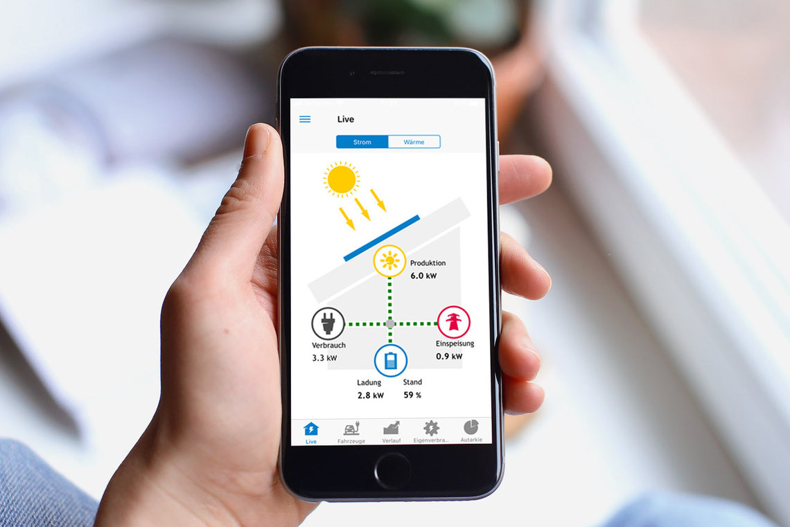 Home Energy App auf Smartphone in Hand